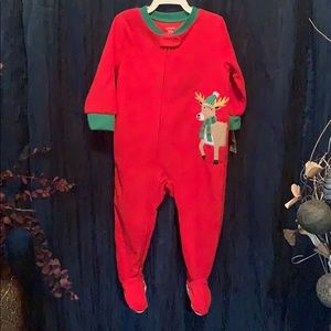 Infants one piece red Christmas pajamas